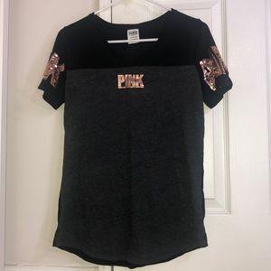 PINK Bling Grey T Shirt